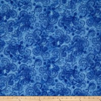 "QT Fabrics Avalon 108"" Wideback Decorative Filigree Blue"