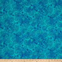 "QT Fabrics Avalon 108"" Wideback Decorative Filigree Turquoise"