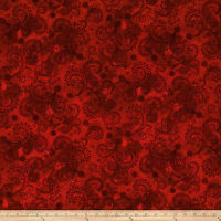 "QT Fabrics Avalon 108"" Wideback Decorative Filigree Red"