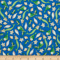 QT Fabrics Mermaid Merriment Fish & Shells Dark Blue