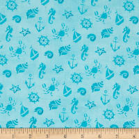 Mermaid Merriment Ocean Icons Blue