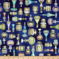 QT Fabrics Spellbound Potions Dark Blue