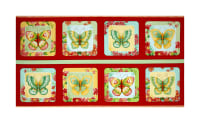 "QT Fabrics All A Flutter Butterfly Picture Patches 24""  Panel Tomato"