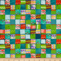 QT Fabrics Alpaca Picnic Blanket Patches Teal
