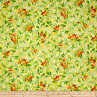 QT Fabrics Belle Flower & Leaf Sunlight