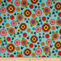 QT Fabrics Carnivale Large Flowers Light Turquoise