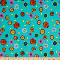 QT Fabrics Carnivale Small Tossed Flowers Turquoise