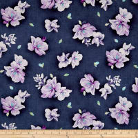 QT Fabrics Jacqueline Tossed Flowers Dark Grape