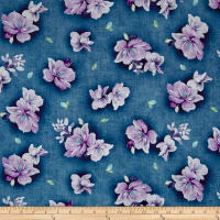 QT Fabrics Jacqueline Tossed Flowers Denim