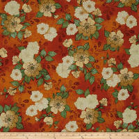 QT Fabrics Manor House Floral Burnt Orange