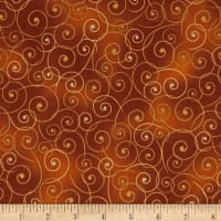 QT Fabrics Manor House Dainty Scroll Burnt Orange