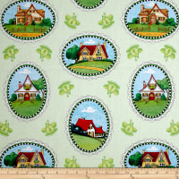 QT Fabrics Mary's Journey House Vignettes Pale Green