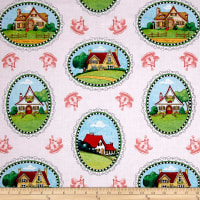 QT Fabrics Mary's Journey House Vignettes Pale Pink