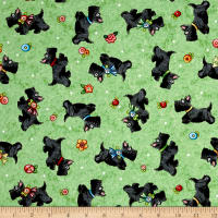 QT Fabrics Mary's Journey Scotties Light Green