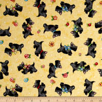 QT Fabrics Mary's Journey Scotties Yellow