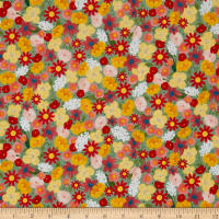 QT Fabrics  Santoro Kori Kumi Melon Drop Packed Flowers Aqua