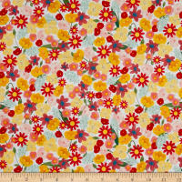 QT Fabrics  Santoro Kori Kumi Melon Drop Packed Flowers White