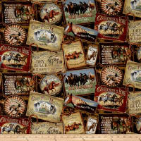 QT Fabrics  Round 'Em Up Horse Patches Brown