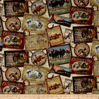 QT Fabrics  Round 'Em Up Horse Patches Cream