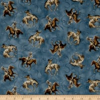 QT Fabrics  Round 'Em Up Cowboy On Horse Dark Blue