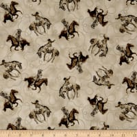 QT Fabrics  Round 'Em Up Cowboy On Horse Cream
