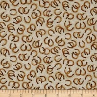 QT Fabrics  Round 'Em Up Horseshoes Cream
