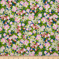 QT Fabrics Songs Of Nature Packed Dogwood Navy