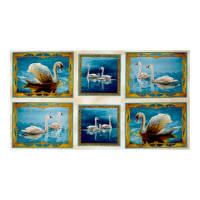 "QT Fabrics Splendid Swans Swan Picture Patches 24"" Panel  Cream"