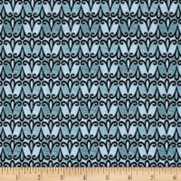 QT Fabrics Splendid Swans Scroll Geo Blue