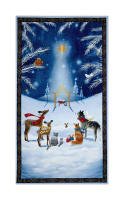 "QT Fabrics Woodland Dream Nativity 24"" Panel Blue"