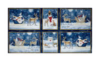 "QT Fabrics Woodland Dream Winter Vignette Patches 24"" Panel Navy"