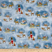 QT Fabrics Woodland Dream Winter Vignettes Allover Light Blue