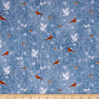QT Fabrics Woodland Dream Cardinals & Doves Medium Blue