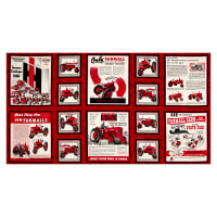 "QT Fabrics  Farmall Show Farmall Ads 24"" Panel Red"