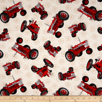 Farmall Show Tossed Tractors Cream