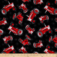 Farmall Show Tossed Tractors Black