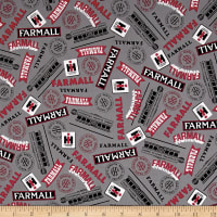 QT Fabrics  Farmall Show Farmall Words Dark Gray