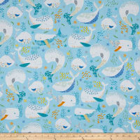 QT Fabrics  Little Squirt Whales Blue