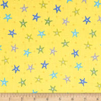 QT Fabrics  Little Squirt Starfish Yellow