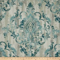 Swavelle Cauthen Damask Barkcloth Teal
