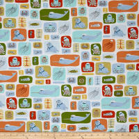 QT Fabrics  In Deep Ship Sea Life Sailors White
