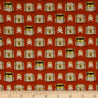QT Fabrics In Deep Ship Treasure Chests & Skulls Burnt Orange