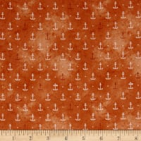QT Fabrics  In Deep Ship Anchors Orange