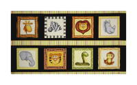 "QT Fabrics Jungle Buddies Animal Picture Patches 24"" Panel Black"