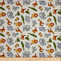QT Fabrics  Jungle Buddies Tossed Animals Cream