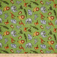 QT Fabrics  Jungle Buddies Tossed Animals Green