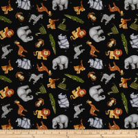 QT Fabrics  Jungle Buddies Tossed Animals Black