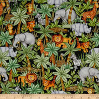 QT Fabrics  Jungle Buddies Animals & Palm Trees Black