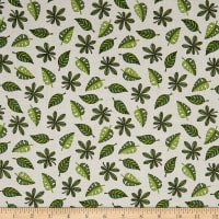 QT Fabrics  Jungle Buddies Leaves Cream