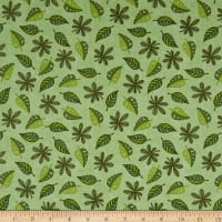 QT Fabrics  Jungle Buddies Leaves Green